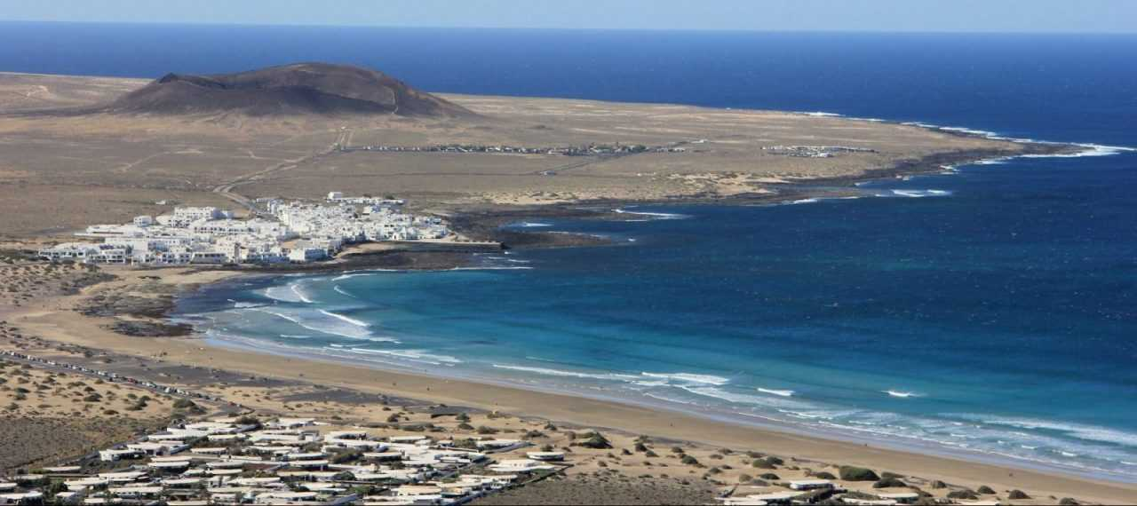 Famara beach view from top of the mountain El Risco