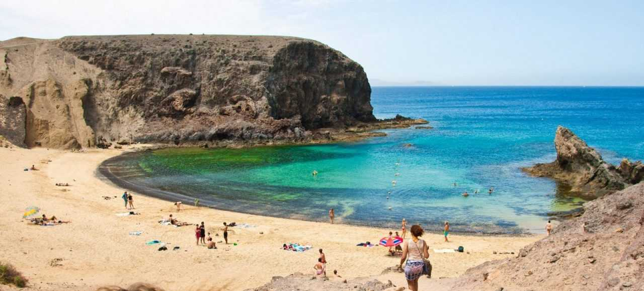 View on the beautiful beach Papagayo in Lanzarote