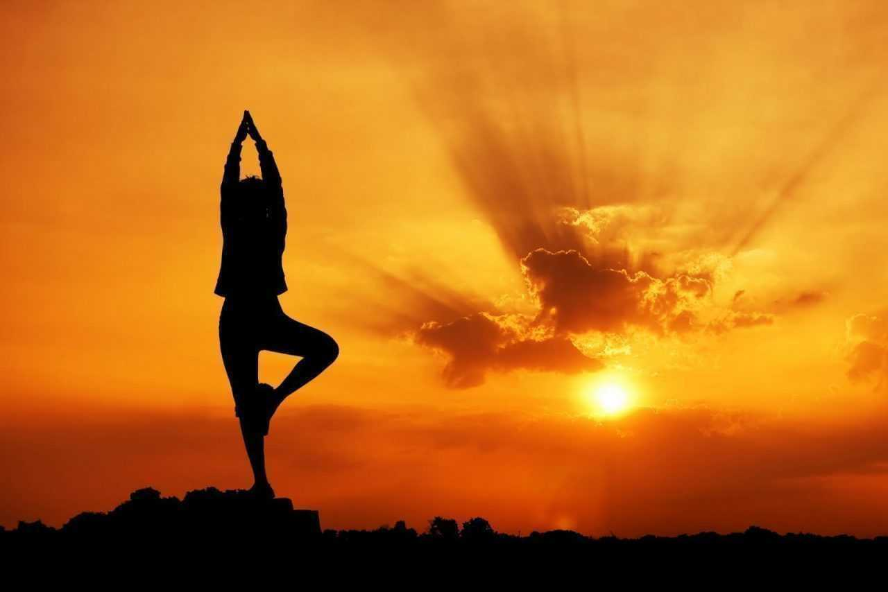yoga practice at sunset