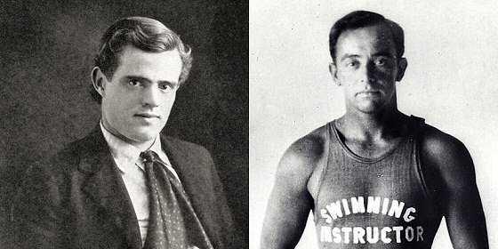 Джек Лондон, американский писатель, и Джордж Фрит, серфер с Вайкики-бич - История серфинга