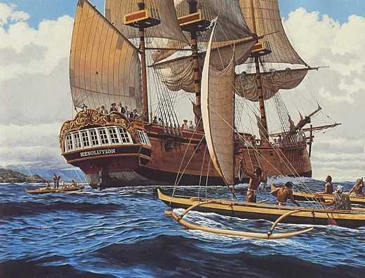 Surf Geschichte Kapitän James Cooks Schiffe in der Kealakekua Bucht