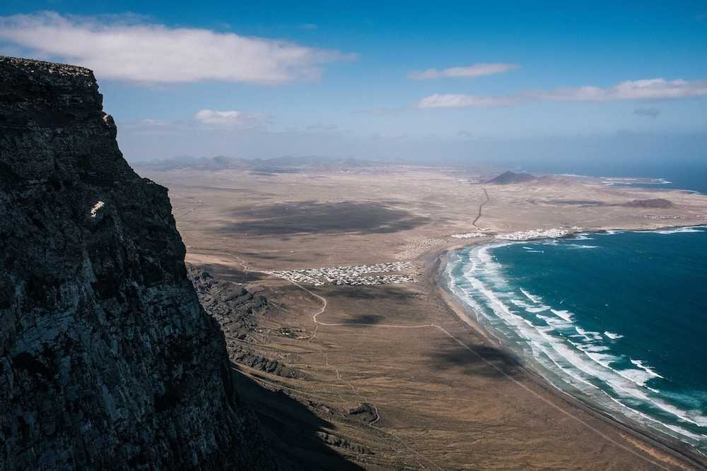 Aerial shot of a beginner surf beach on Lanzarote